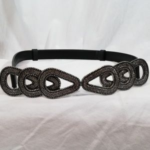 Chico's Black Leather Belt With Embellished Buckle